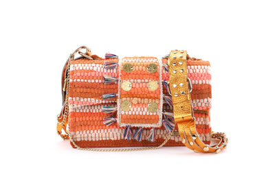 Fabric & Leather Shoulder Bag - New Yorker Soho Orange Studs