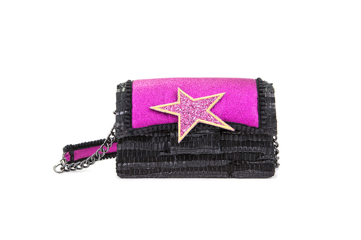 Leather Shoulder Bag - New Yorker Disco Fuchsia / Black cs