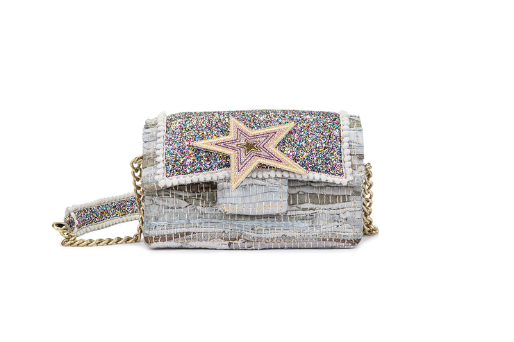 Leather Shoulder Bag - New Yorker Disco Silver