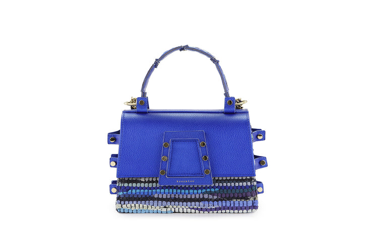 Fabric & Leather Shoulder Bag - Ersilia Blue