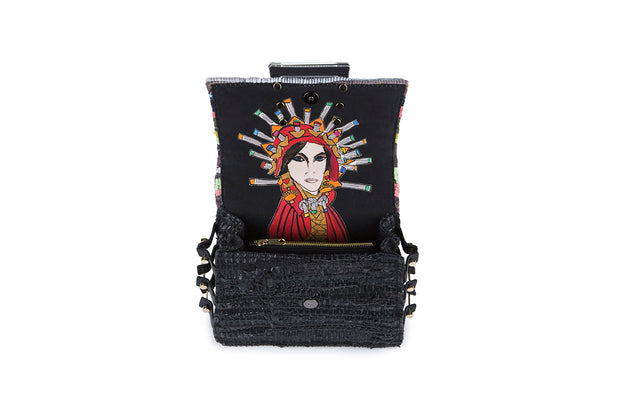 Fabric & Leather Shoulder Bag - Ersilia Multi / Black