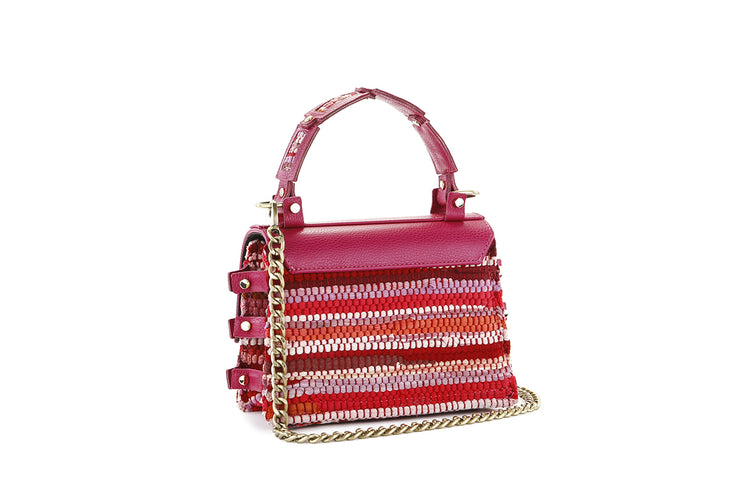 Fabric & Leather Shoulder Bag - Ersilia Fuchsia