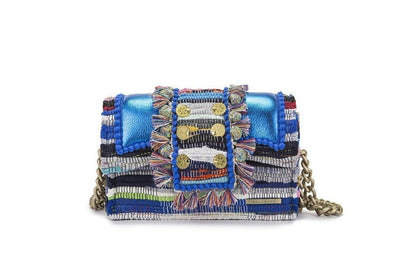 "Fabric & Leather Shoulder Bag - Hollywood ""Babe"" Metallic Electric Blue"