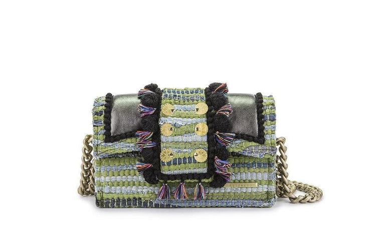 "Fabric & Leather Shoulder Bag - Hollywood ""Babe"" Green Jeans"