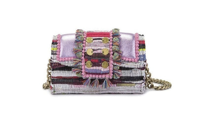 "Fabric & Leather Shoulder Bag - Hollywood ""Babe"" Metallic Pink"