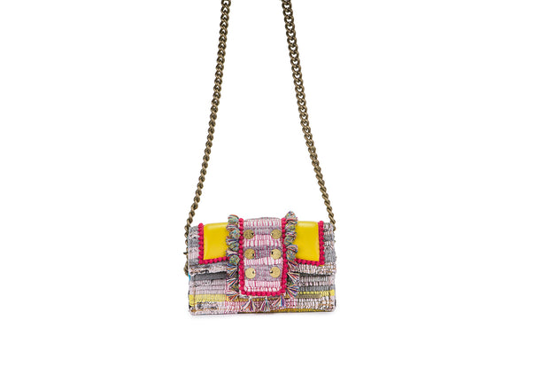 "Fabric & Leather Shoulder Bag - Hollywood ""Babe"" Yellow"