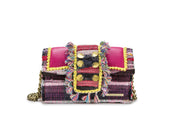 "Fabric & Leather Shoulder Bag - Hollywood ""Babe"" Fashion Fuchsia"