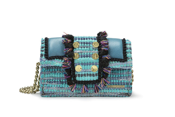 "Fabric & Leather Shoulder Bag - Hollywood ""Babe"" Petrol cs"