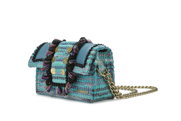"Fabric & Leather Shoulder Bag - Hollywood ""Babe"" Petrol"