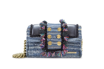 "Fabric & Leather Shoulder Bag - Hollywood ""Babe"" Blue Jeans"