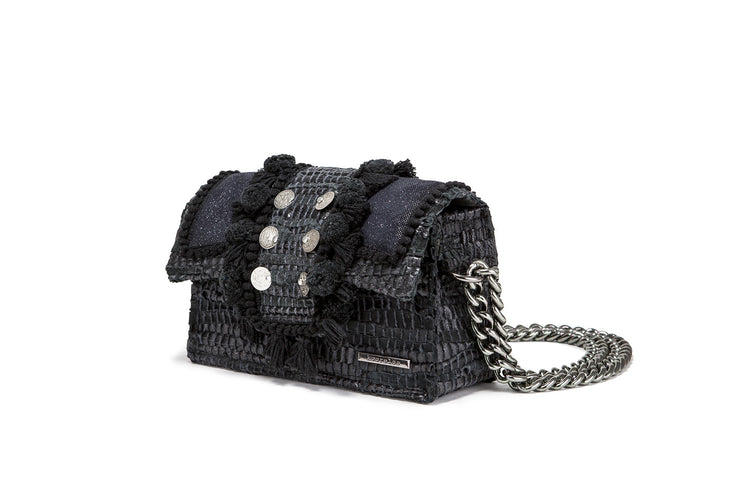 "Leather Shoulder Bag - Hollywood ""Babe"" Starry Night"