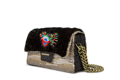 Leather Shoulder Bag Tender LTD - New Yorker Sheepskin Peacock Black cs