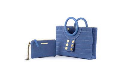 Ring Tote with Pocket Purse in Seaqual Denim