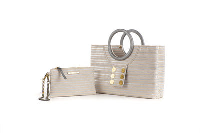 Ring Tote with Pocket Purse in Silver
