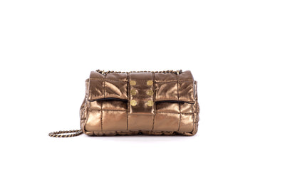 Shoulder bag San Francisco Pillow Metallic Leather Bronze