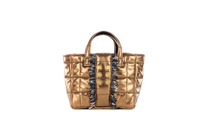 Book Tote Diana Metallic Leather with strap