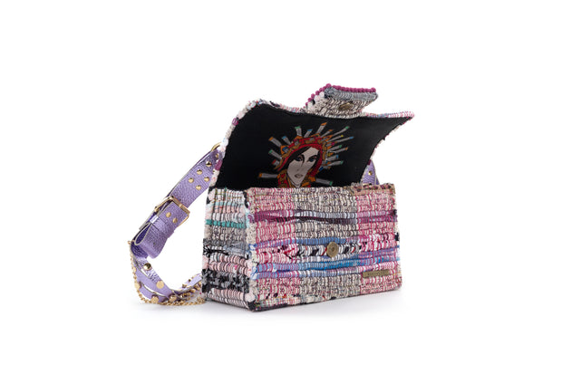 Fabric & Leather Shoulder Bag - New Yorker Soho Multi Studs Metallic Mauve