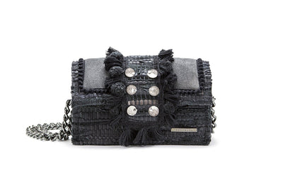 "Leather Shoulder Bag - Hollywood ""Babe"" Starry Night Myst"