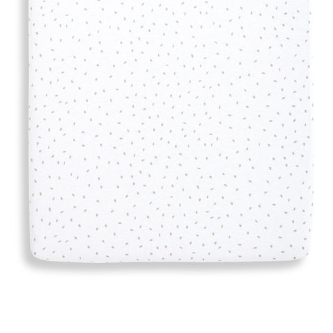 Little Green Sheep Organic Crib Fitted Sheet - White Rice