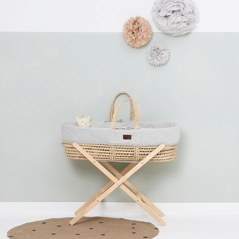 Little Green Sheep Natural Quilted Moses Basket - Dove Rice