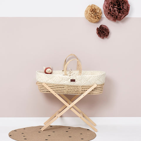 Little Green Sheep Natural Quilted Moses Basket - Linen Rice