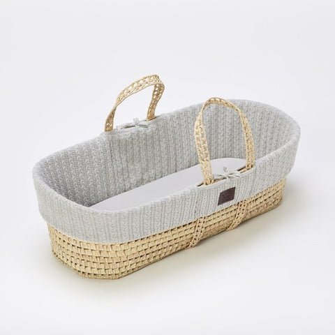 Little Green Sheep Natural Knitted Moses Basket - Dove