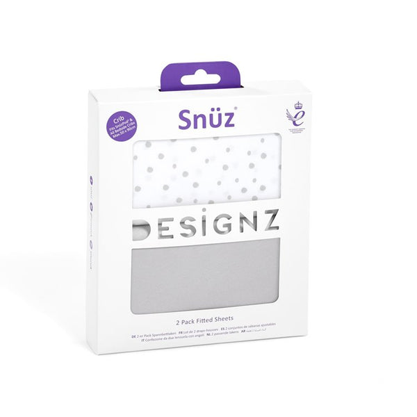Snuz Crib Set of 2 Fitted Sheets - Grey Spots