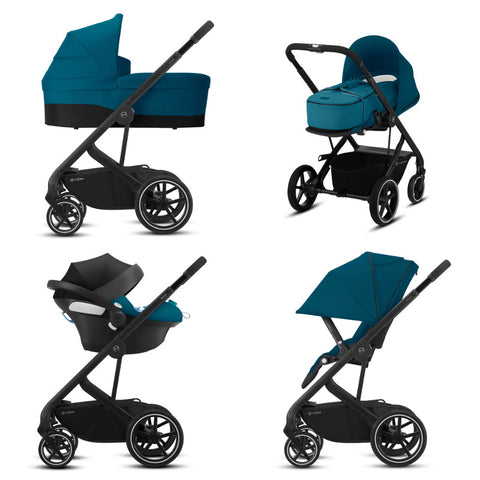 Cybex Balios S Lux Travel System Package - Black Frame/River Blue