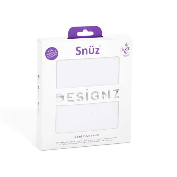 Snuz Crib Set of 2 Fitted Sheets - White