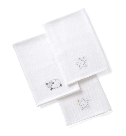 Silver Cloud Counting Sheep Set of 3 Muslins