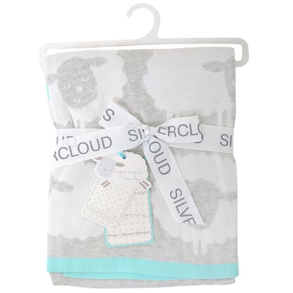 Silver Cloud Counting Sheep Knitted Pram/Moses Blanket