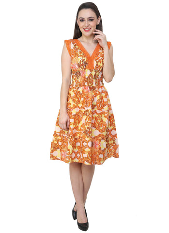Renka Floral Print Multi color Dress for women - orange