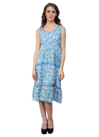 Renka Floral Print Multi color Dress for women - Skyblue