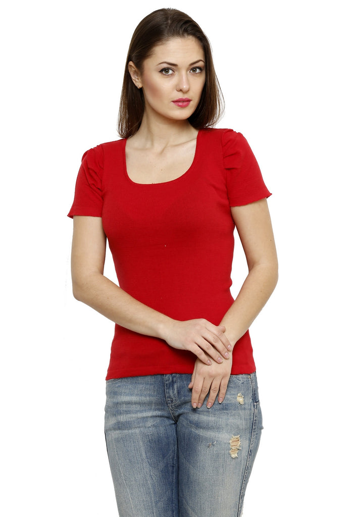 Renka Comfortable Red Color Seamless Summer Tops for Women