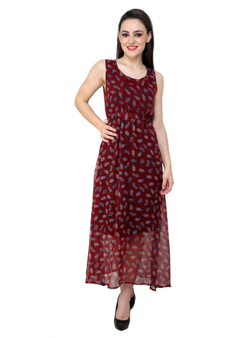 Renka Floral Print Maroon Dress for women