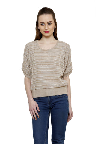 RENKA Beige Color Plain Summer Tops for Women
