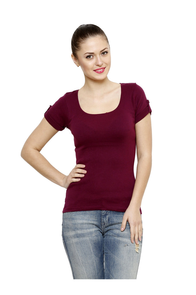 Renka Comfortable Maroon Color Seamless Summer Tops for Women