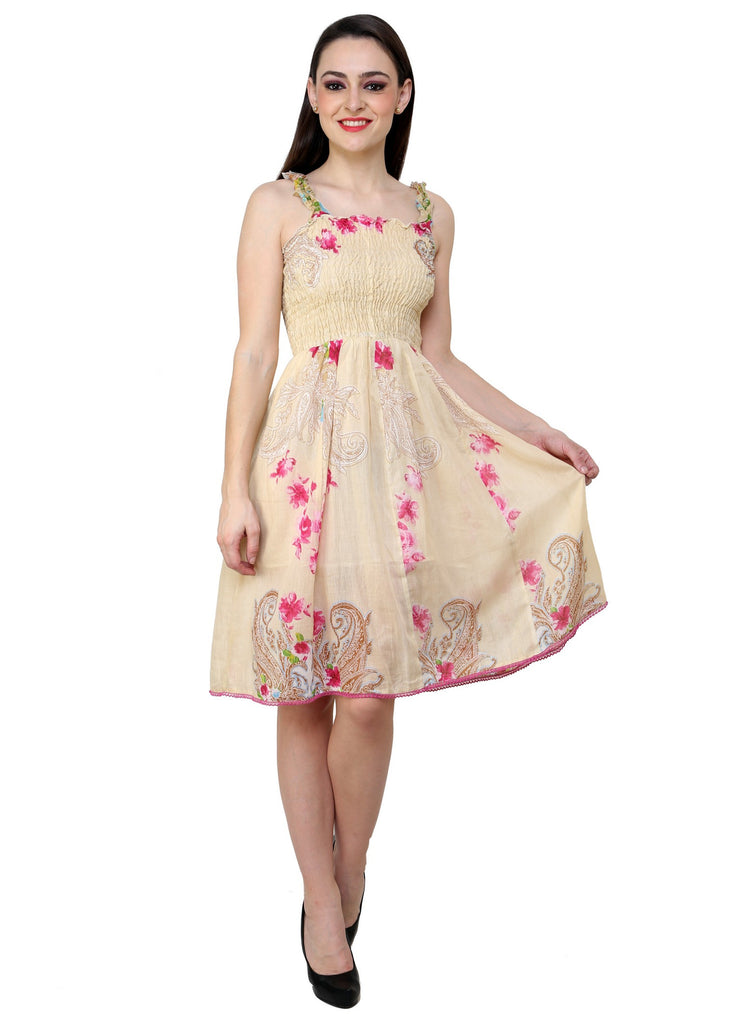 Renka Floral Print Print Yellow Dress for women