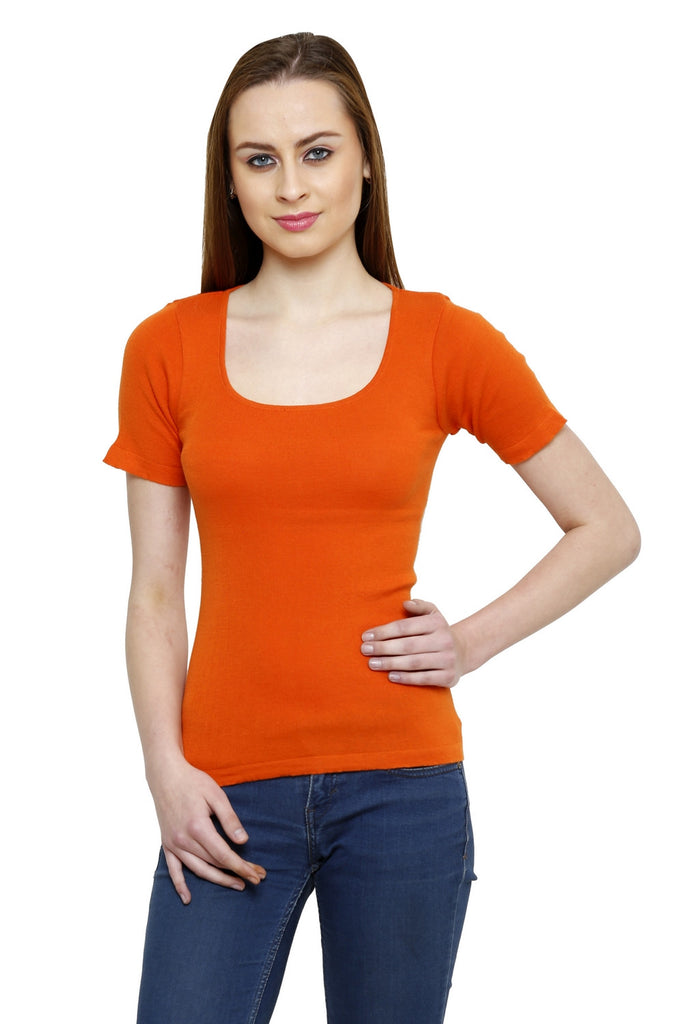 Renka Comfortable Orange Color Seamless Summer Tops for Women