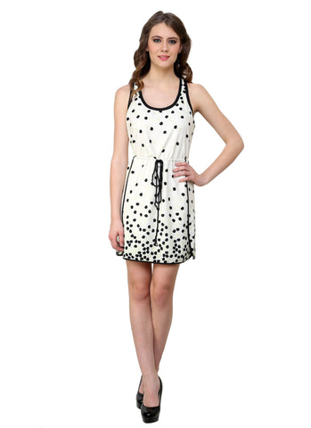 Renka Printed White Dress for Women