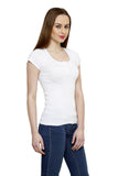 Renka Comfortable White Color Seamless Summer Tops for Women