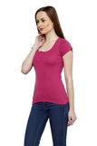 Renka Comfortable Pink Color Seamless Summer Tops for Women