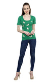 Renka Comfortable Green Color Seamless Summer Tops for Women