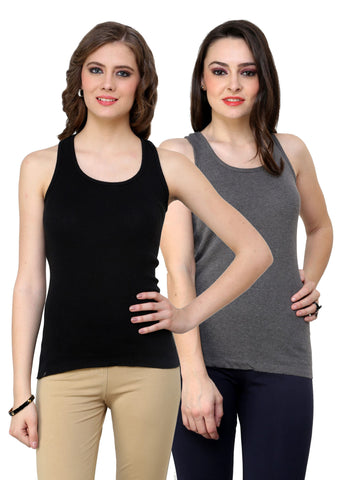 Renka Lycra Cotton Black Grey Plain Solid Women Camisole (Pack Of 2)
