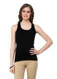 Renka Lycra Cotton Black Orange Plain Women Camisole (Pack 2)