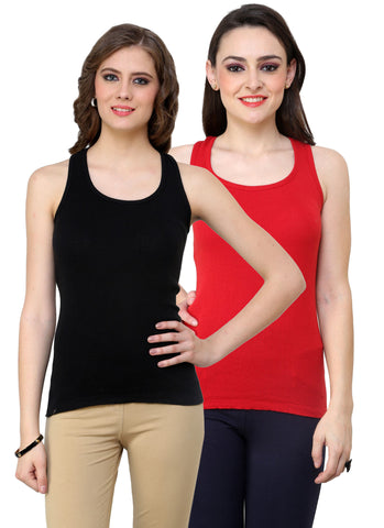 Renka Lycra Cotton Black Red Plain Solid Women Camisole (Pack Of 2)