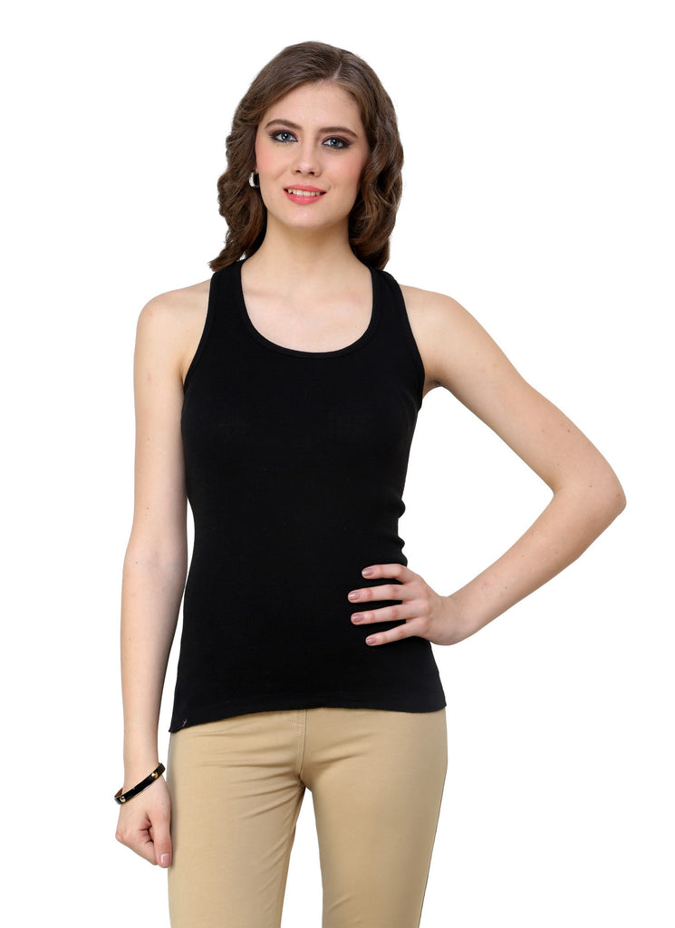 Renka Comfortable,Durable Black Color Camisole/Tank Tops for Women-S1-Black