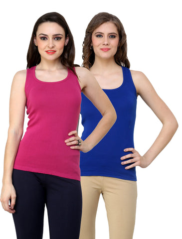 Renka Lycra Cotton Blue Pink Plain Solid Women Camisole (Pack Of 2)