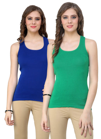 Renka Lycra Cotton Blue Green Plain Solid Women Camisole (Pack Of 2)