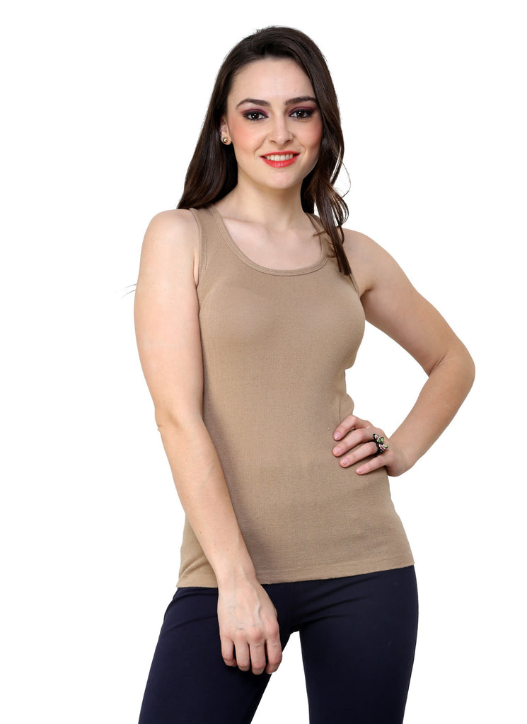 Renka Comfortable,Durable Camel Color Camisole/Tank Tops for Women-S1-Camel